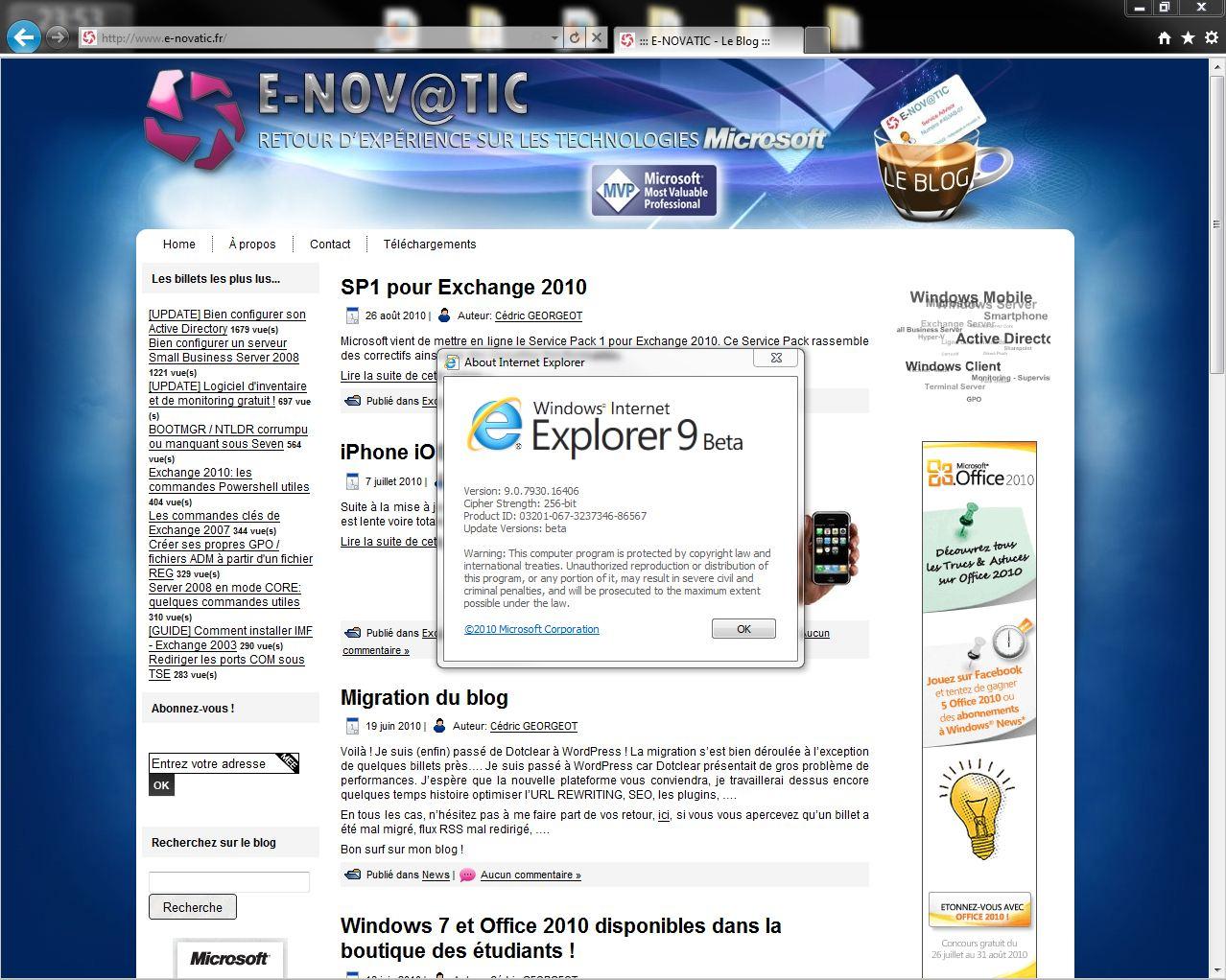 Sortie de Internet Explorer 9
